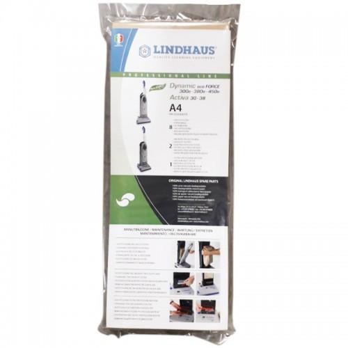 Saci aspiratoare profesionale Lindhaus model A4,set 8 buc.,2 filtre evacuare,filtru motor