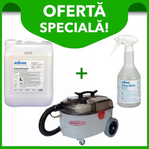 Aspirator profesional injecție-extracție Sprintu SE 7 + Detergent mochete și tapițerii Carp-Extracta 10 L + Detergent pentru pete Carp Deta 750 ml.