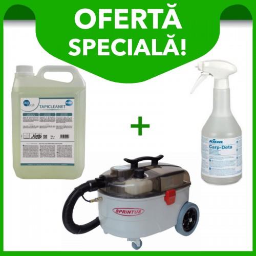Aspirator profesional injecție-extracție Sprintu SE 7 + Detergent mochete și tapițerii Tapicleanet 5 L + Detergent pentru pete Carp Deta 750 ml.