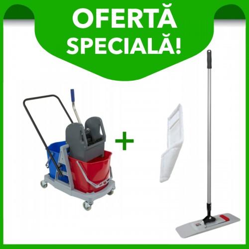 Cărucior curățenie 2 găleți 17 litri + Mop profesional Sprintus Magic Click 40 cm