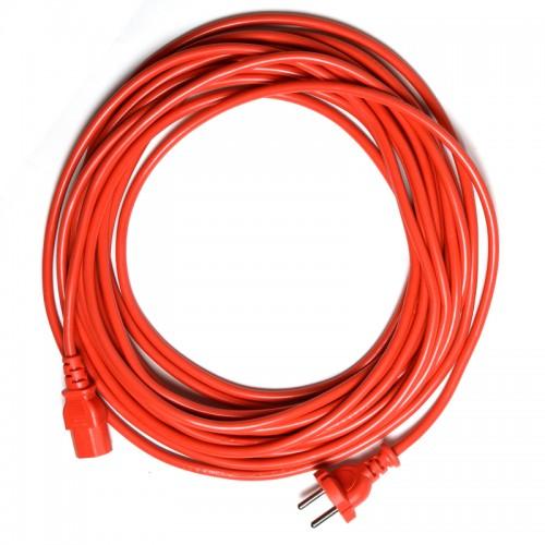Cablu alimentare roșu 15 m cu mufă de conectare